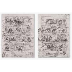 Portafolio Projet Rombaldi 1985 planches Nº1 et 2 Tintin et L'Alph Art (18x24cm)