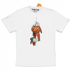 T-shirt 100 % coton Moulinsart Tintin et Milou cosmonaute sur la lune L (2020)