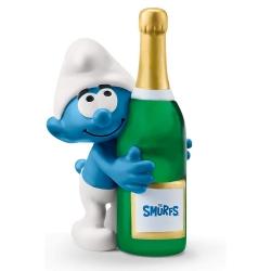 Figura Schleich® Los Pitufos - Pitufo con botella de champán Smurfs (20821)