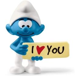 Figurine Schleich® Les Schtroumpfs - Schtroumpf avec pancarte I Love You (20823)