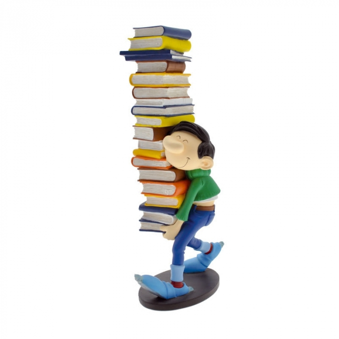 Figurine de collection Plastoy: Gaston Lagaffe portant une piles de livres 00300