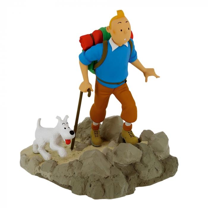 Figurine de collection Moulinsart de Tintin en randonneur avec Milou (2020)