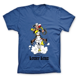 Camiseta 100% algodón Lucky Luke, Galope con Jolly Jumper (Azul)