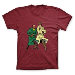 T-shirt 100% cotton Francis Percy Blake and Philip Mortimer Duo (Burgundy)