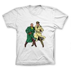 Camiseta 100% algodón Francis Percy Blake y Philip Mortimer Duo (Blanco)