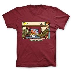 Camiseta 100% algodón Blake y Mortimer, delante la chimenea (Burdeos)
