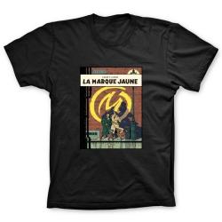 Camiseta 100% algodón Blake y Mortimer, La Marque Jaune (Negro)