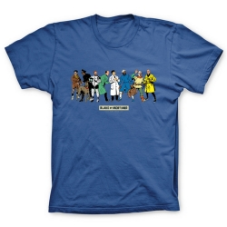 Camiseta 100% algodón Blake y Mortimer, los personajes (Azul)