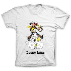Camiseta 100% algodón Lucky Luke, Galope con Jolly Jumper (Blanco)