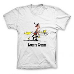 Camiseta 100% algodón Lucky Luke, juego de pista con Jolly Jumper (Blanco)