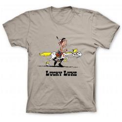 Camiseta 100% algodón Lucky Luke, juego de pista con Jolly Jumper (Arena)