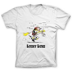 Camiseta 100% algodón Lucky Luke, atacado con flechas de Indios (Blanco)