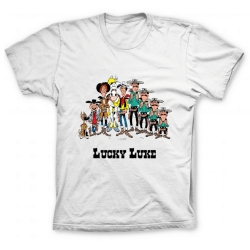 Camiseta 100% algodón Lucky Luke, los personajes (Blanco)