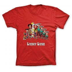Camiseta 100% algodón Lucky Luke, los personajes (Rojo)