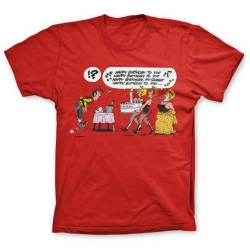 Camiseta 100% algodón Lucky Luke, Happy Birthday !? (Rojo)