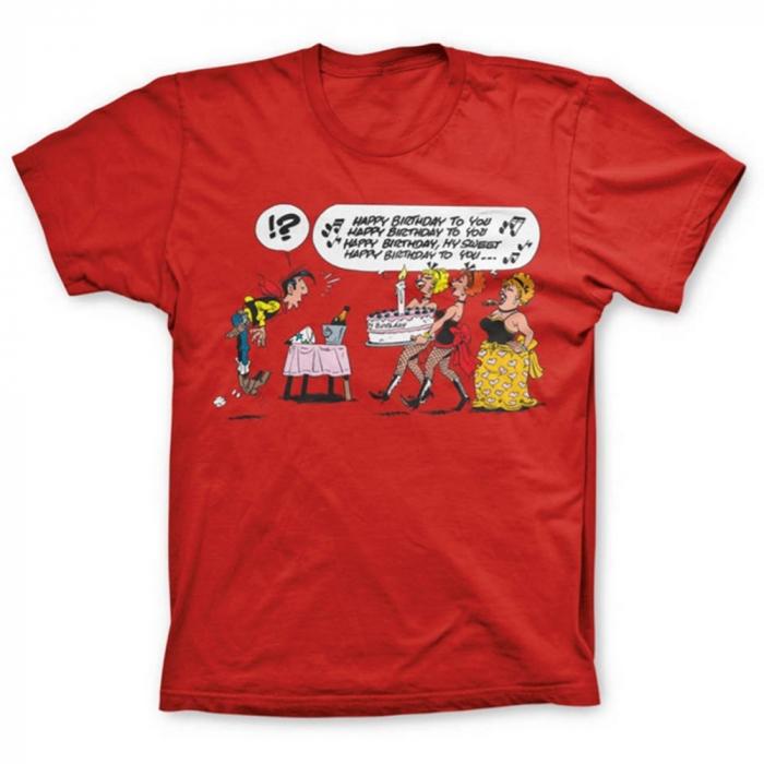 T-shirt 100% cotton Lucky Luke, Happy Birthday !? (Red)