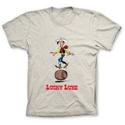 Camiseta 100% algodón Lucky Luke, equilibrándose en un barril (Arena)
