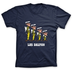 Camiseta 100% algodón Lucky Luke, los ángeles Dalton (Azul)