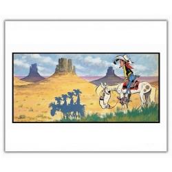Póster cartel offset Lucky Luke, sombra de Los Hermanos Dalton (35,5x28cm)