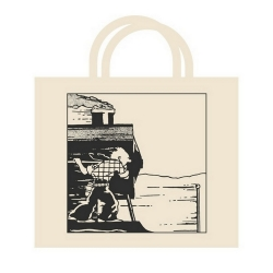 100% Cotton Reusable Beige Bag Tintin on the train 48x42x12cm (04188)