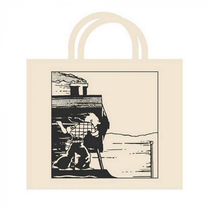 Bolsa reutilizable beige 100% algodón Tintín en el tren 48x42x12cm (04188)