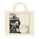 100% Cotton Reusable Beige Bag Tintin on the train 48x42x12cm (04188)