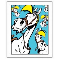 Poster affiche offset Lucky Luke, Expressions de Jolly Jumper Bleu (28x35,5cm)