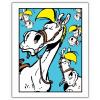 Póster cartel offset Lucky Luke, Expresiones de Jolly Jumper Azul (28x35,5cm)