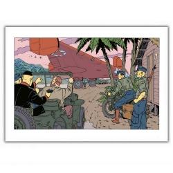 Poster affiche offset Blake et Mortimer, pistolet dans le dos (35,5x28cm)