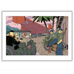 Poster offset Blake and Mortimer, gun in the back (35,5x28cm)