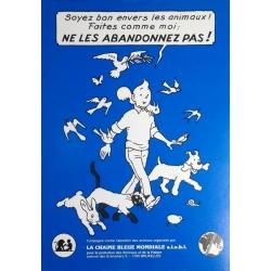 Carte postale avec autocollant Tintin, ne les abandonnez pas ! 1994 (10x15cm)