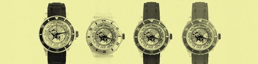 Comics watches, alarm clocks and compass